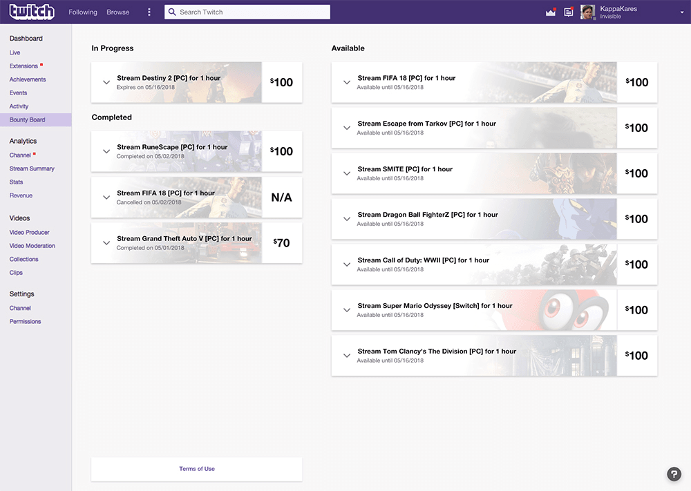 Twitch Bounty Board