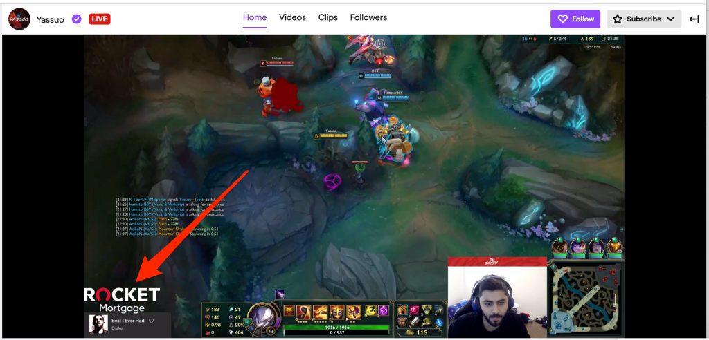 Onscreen branding within livestream