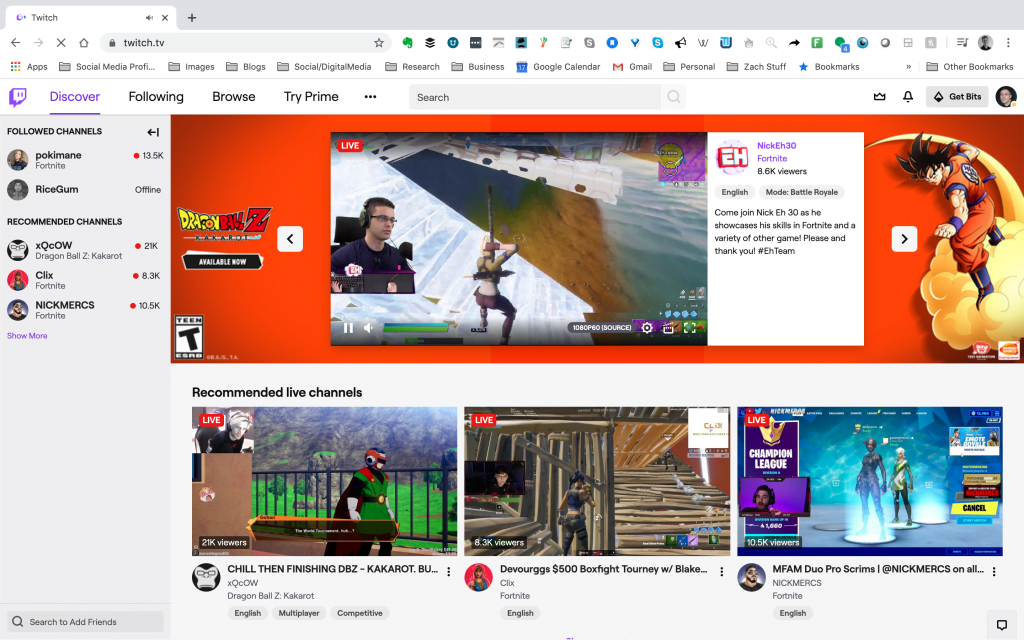 The Twitch homepage