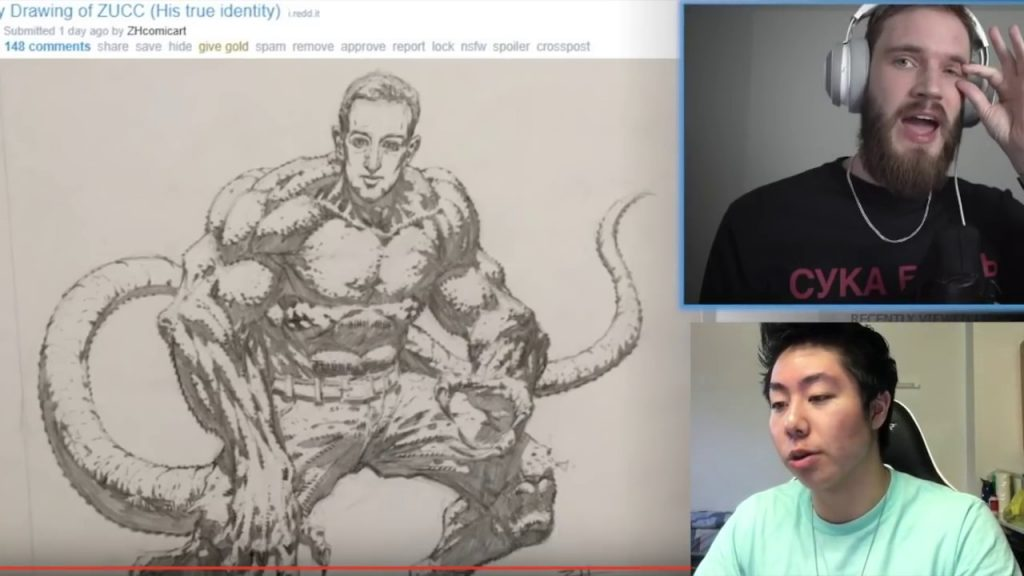PewDiePie reacting to ZHC's drawings