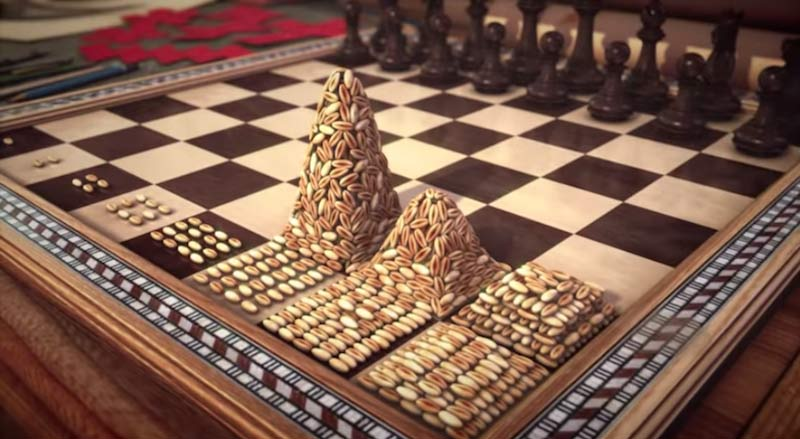 chessboard with grains