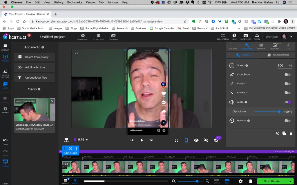 Using Kamua for editing videos for TikTok